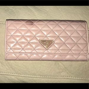 Prada Quilted Leather wallet w/attached card case